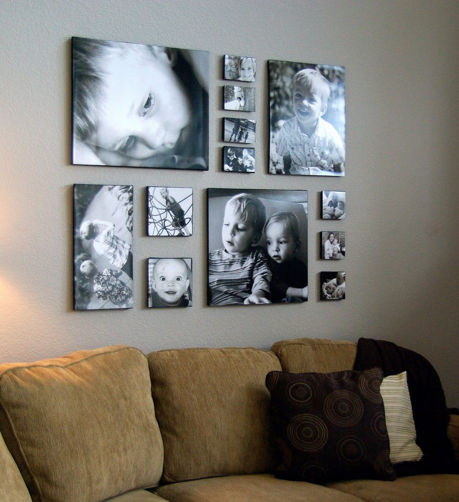 Декор стены  фотографиями и